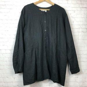 Flax Lagenlook Black Button Down Tunic Top Shirt L